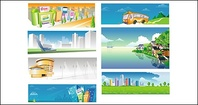 city,bus,other,rural,scenery,vector,material
