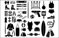 various,sketch,element,material,sport,equipment,type