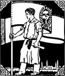 worker,flag,labor,woodcut,ornament,media,clip art,externalsource,public domain,image,png,svg