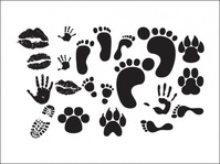 print,human,animal,collection,footprint,handprint,lip,animal,lip,animal,lip