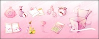 female,pink,icon,material,product,perfume,notebook,pen,earring,cosmetic,lipstick,calculator,foundation,purse,box,gift