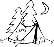 sleeping,tent,people,camping,outdoors,cartoon,colouring book