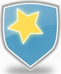 rachaelanaya,blue,shield,star,icon,shiny,cool,colour,symbol