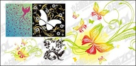 bird,butterfly,pattern,combination,material
