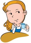 beautiful,girl,cup,coffee,a,of,cartoon,illustration,with