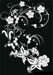 black,white,flower,decoration