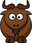 cartoon,colour,animal,mammal,gnu,wildebeest,funny,media,clip art,how i did it,public domain,image,png,svg