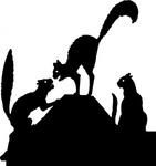 fight,silhouette,media,clip art,public domain,image,png,svg,animal,cat,roof