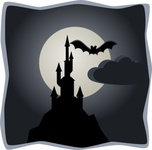 spooky,castle,full,moon,remix,colour,cartoon,bat,full moon,creepy,clip art,media,public domain,image,png,svg