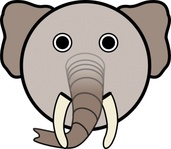 elephant,rounded,face,animal,cartoon,smiley,media,clip art,public domain,image,svg,png