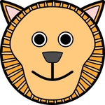 lion,rounded,face,animal,cartoon,smiley,media,clip art,public domain,image,png,svg