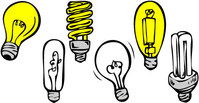 object,different,shape,type,light,bulb