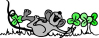 mouse,playing,shamrock,media,clip art,externalsource,public domain,image,png,svg,cartoon,animal,plant,clover,rat,irish,wpclipart