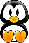 baby,penguin,black,yellow,tux,cartoon,cute,media,clip art,externalsource,public domain,image,png,svg