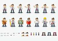 book,box,business,business man,cartoon,character,element,emoticon,emotion,eps10,eye,hair,icon,illustration,man,people,pixel,shoe,tie