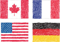 canada,country,flag,france,germany,scribble,symbol,usa,french flag,american flag
