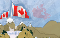 canada,mountain,flag,postcard,background,canadian,deer,waterfall,fall,landscape