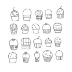 freehand,cupcake,doodle,cake,food,dessert,treat,desert,baked,baked good,cartoon,cherry,cup cake,cute,free hand,frosting,hand drawn,line art,sketchy,sprinkle,sweet