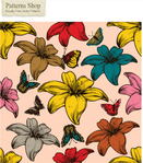 nature,flower,butterfly,floral,pattern,repeat,seamless