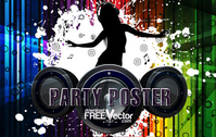 illustration,template,abstract,background,dance,girl,lady,music,party,people,poster,silhouette,speaker,splatter