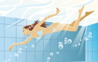 illustration,premium,swimming,woman