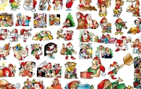 christmas,santa,claus,illustration,elk,gift,tree,family,holiday,chimney,dinner,chicken,material,icon,character,man,woman,old,greeting,happy