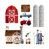 farm,barn,pick-up truck,vehicke,tractor,farmer,spade,wheelbarrow,country house,farm house,wind vane,pot,flower,hay fork,silo