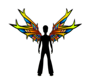 wing,angel,black outline,silhouette,male,colorful,stylised