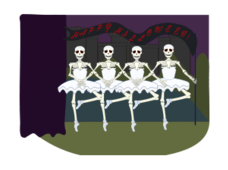 halloween,skeleton,swan lake,ballet,dancing