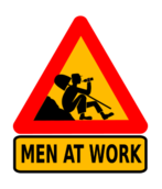 road sign,humor,funny,worker,break,alcoholism,alcohl,drinking,man at work,men at work,warning