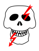 skull,crossbones,alert,caution,electricity,electric,shock,voltage,dangerous