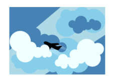 plane,cloud,silhouette,blue,stylised