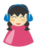 cute,girl,pretty,headphone,smile,happy,listen,song