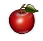 fruit,apple,food,red,icon,3d,green,shaded,good for you,healthy