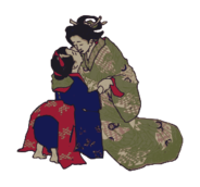 kiss,geisha,woman,japan,hug,woman