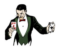 colorized,lineart,magic,magician,card,playingcards,illusion,illusionist