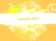 abstract,banner,decoration,decorative,floral,orange,ornament,placard,star,swirl,text,yellow