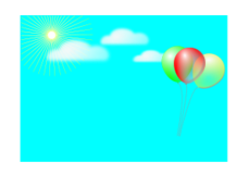 blank birthday card,balloon,blue sky