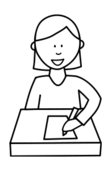 people,girl,school,student,write,writing,black and white,outline,colouring book