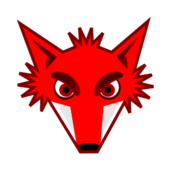 animal,mammal,wild,fox,head,red,contour,cartoon,mascot,colour